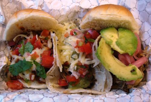 chili slider, short rib taco, pulled pork slider (left to right)