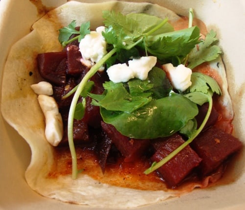 bbq beets, watercress & goat cheese taco