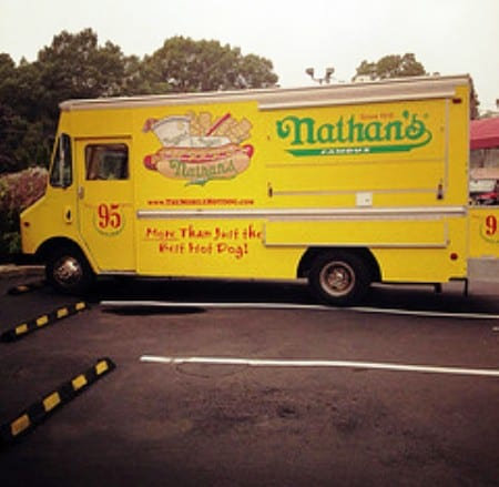An Authentic Nathans Famous Hot Dog Truck