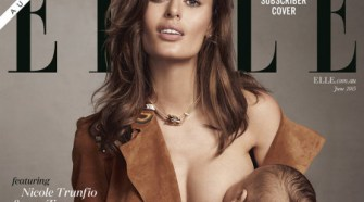 Nicole Trunfio's ELLE Australia subscriber cover with son Zion