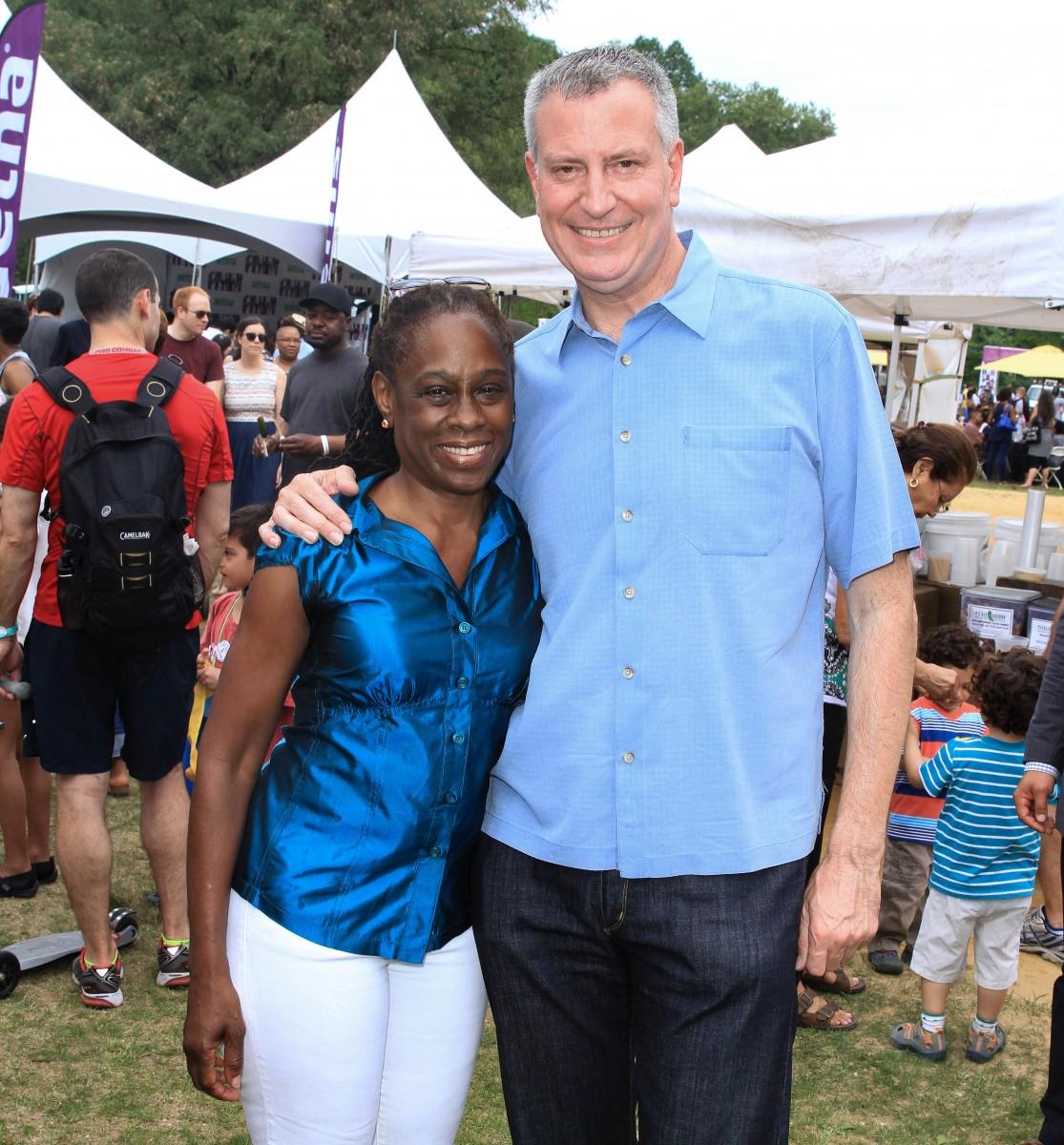 Mayor Bill DeBlasio with wife Chirlane McCray