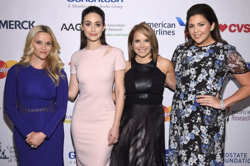 """""""NEW YORK, NEW YORK - APRIL 09: (L-R) Reese Witherspoon, Emmy Rossum, Katie Couric and Hillary Scott attend Stand Up To Cancer's New York Standing Room Only, presented by Entertainment Industry Foundation, with donors American Airlines and Merck, chaired by Jim Toth, Reese Witherspoon & MasterCard President/CEO Ajay Banga and his wife Ritu, honoring Katie Couric at Cipriani Wall Street on April 9, 2016 in New York City. (Photo by Dimitrios Kambouris/Getty Images for EIF)"""""""