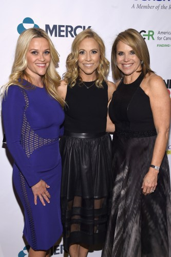 """""""NEW YORK, NEW YORK - APRIL 09: (L-R) Reese Witherspoon, Sheryl Crow and Katie Couric attend Stand Up To Cancer's New York Standing Room Only, presented by Entertainment Industry Foundation, with donors American Airlines and Merck, chaired by Jim Toth, Reese Witherspoon & MasterCard President/CEO Ajay Banga and his wife Ritu, honoring Katie Couric at Cipriani Wall Street on April 9, 2016 in New York City. (Photo by Dimitrios Kambouris/Getty Images for EIF)"""""""