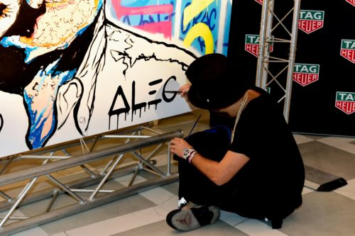 """Mysterious Artist Alec Monopoly Unveils 50ft Wall """"Tag"""" at Mondrian Miami for Tag Heuer"""