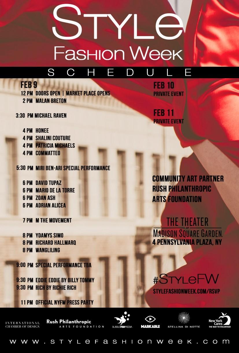 Style Fashion Week NYFW Schedule