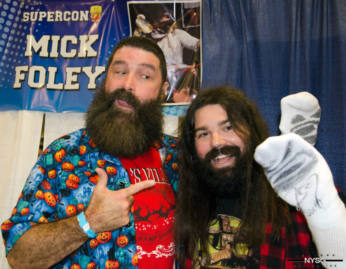 Mick Foley poses with Fan at Florida Supercon