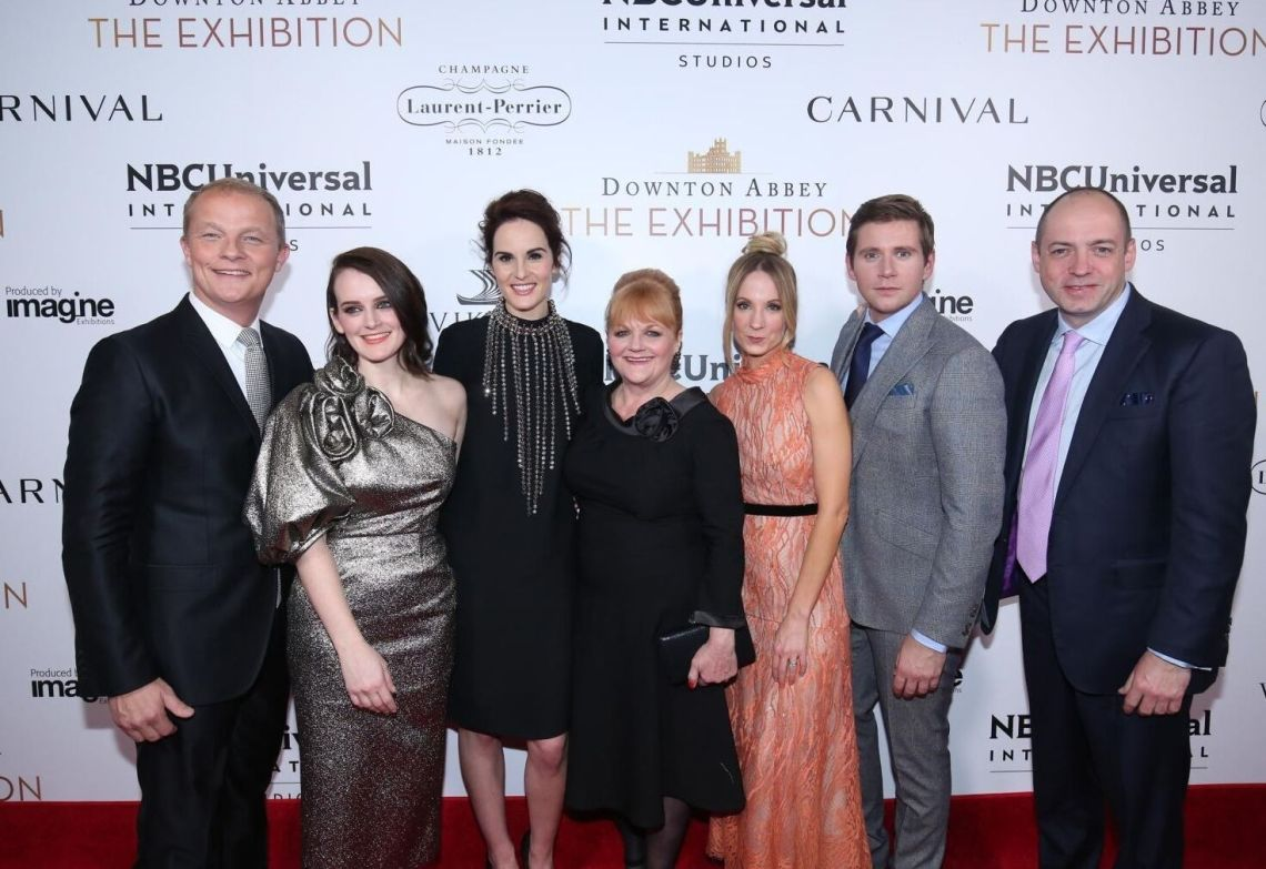NBC Universal International chairman Kevin MacLellan, actors Sophie McShera, Michelle Dockery, Lesley Nicol, Joanne Froggatt, and Allen Leech, with Downton Abbey executive producer Gareth Neame
