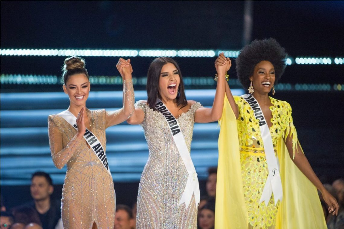 Demi-Leigh Nel-Peters, Miss South Africa 2017; Laura González, Miss Colombia 2017; Davina Bennett, Miss Jamaica 2017