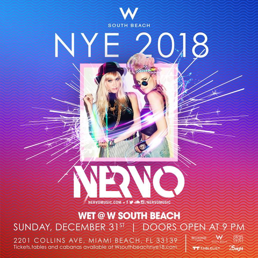 WET Pool at W South Beach Announce Nervo To Headline NYE 2018 Festivities