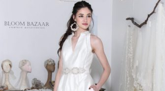 Carmen Marc Valvo Bridal w- Bloom Bazaar accessories