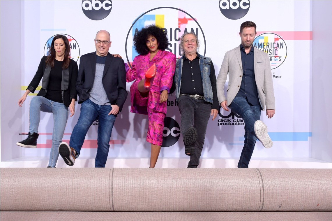 (L-R) SVP of Production at Dick Clark Productions Linda Gierahn, EVP of Programming and Development at Dick Clark Productions Mark Bracco, Tracee Ellis Ross, and AMA Producers Larry Klein and Baz Halpin are seen during the 2018 American Music Awards