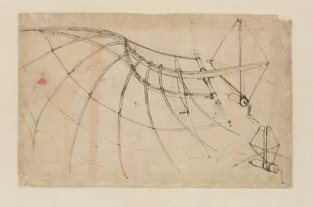Leonardo da Vinci, Studio di ala meccanica, penna e inchiostro, c. 1578-80, Codice Atlantico, f. 858r