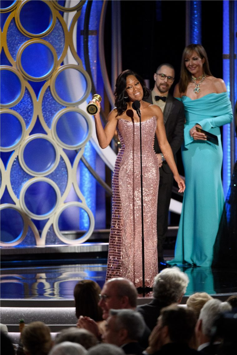 "Regina King accepts the Golden Globe Award for BEST PERFORMANCE BY AN ACTRESS IN A SUPPORTING ROLE IN ANY MOTION PICTURE for her role in ""If Beale Street Could Talk"" at the 76th Annual Golden Globe Awards at the Beverly Hilton in Beverly Hills, CA on Sunday, January 6, 2019."