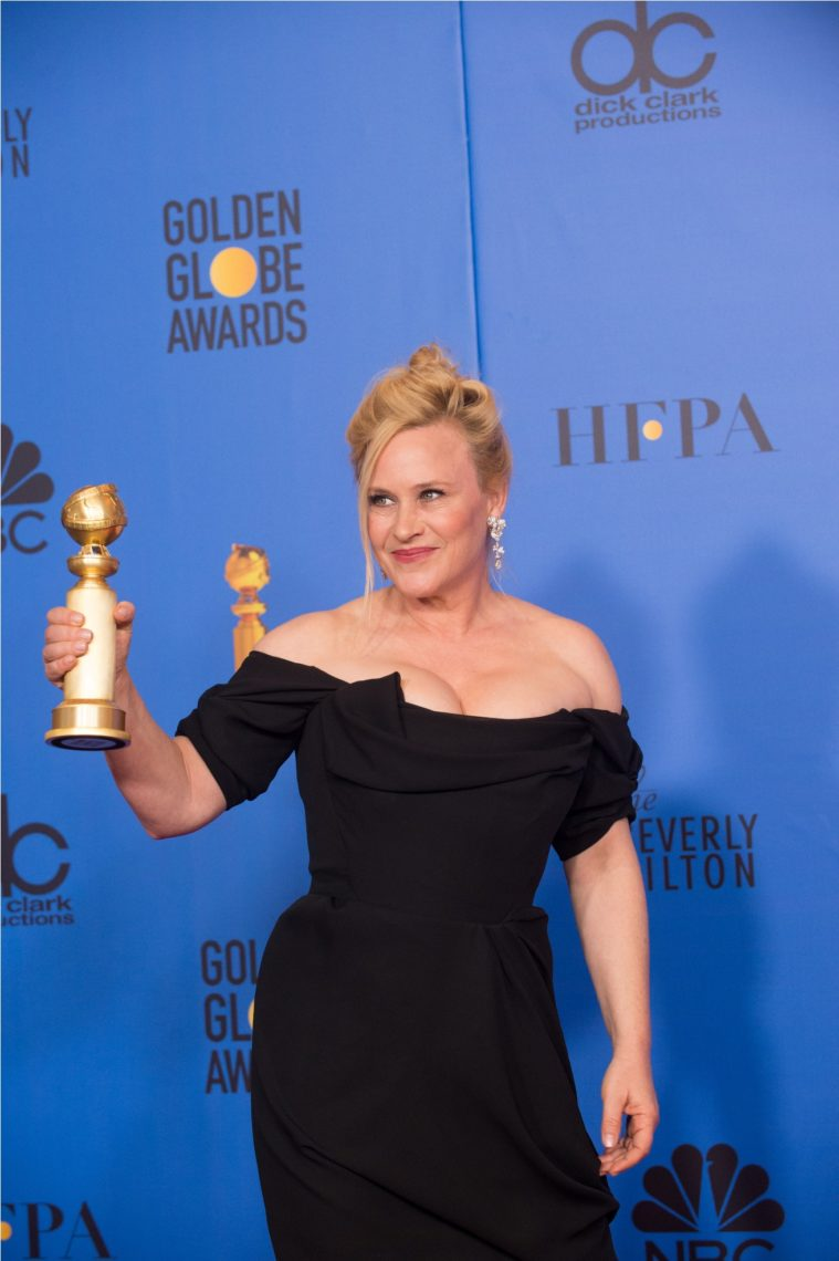 "After winning the category of BEST PERFORMANCE BY AN ACTRESS IN A LIMITED SERIES OR A MOTION PICTURE MADE FOR TELEVISION for her role in ""Escape at Dannemora,"" actress Patricia Arquette poses backstage in the press room with her Golden Globe Award at the 76th Annual Golden Globe Awards at the Beverly Hilton in Beverly Hills, CA on Sunday, January 6, 2019."