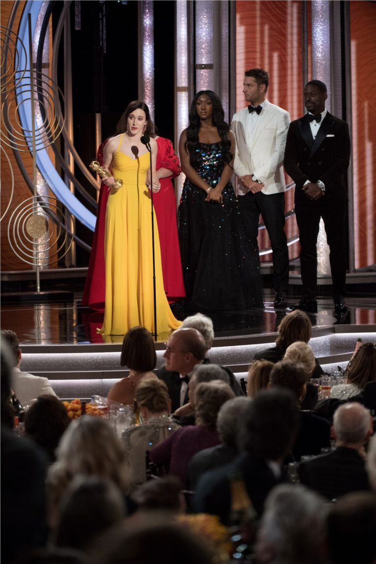 "Rachel Brosnahan accepts the Golden Globe Award for BEST PERFORMANCE BY AN ACTRESS IN A TELEVISION SERIES – MUSICAL OR COMEDY for her role in ""The Marvelous Mrs. Maisel"" at the 76th Annual Golden Globe Awards at the Beverly Hilton in Beverly Hills, CA on Sunday, January 6, 2019."