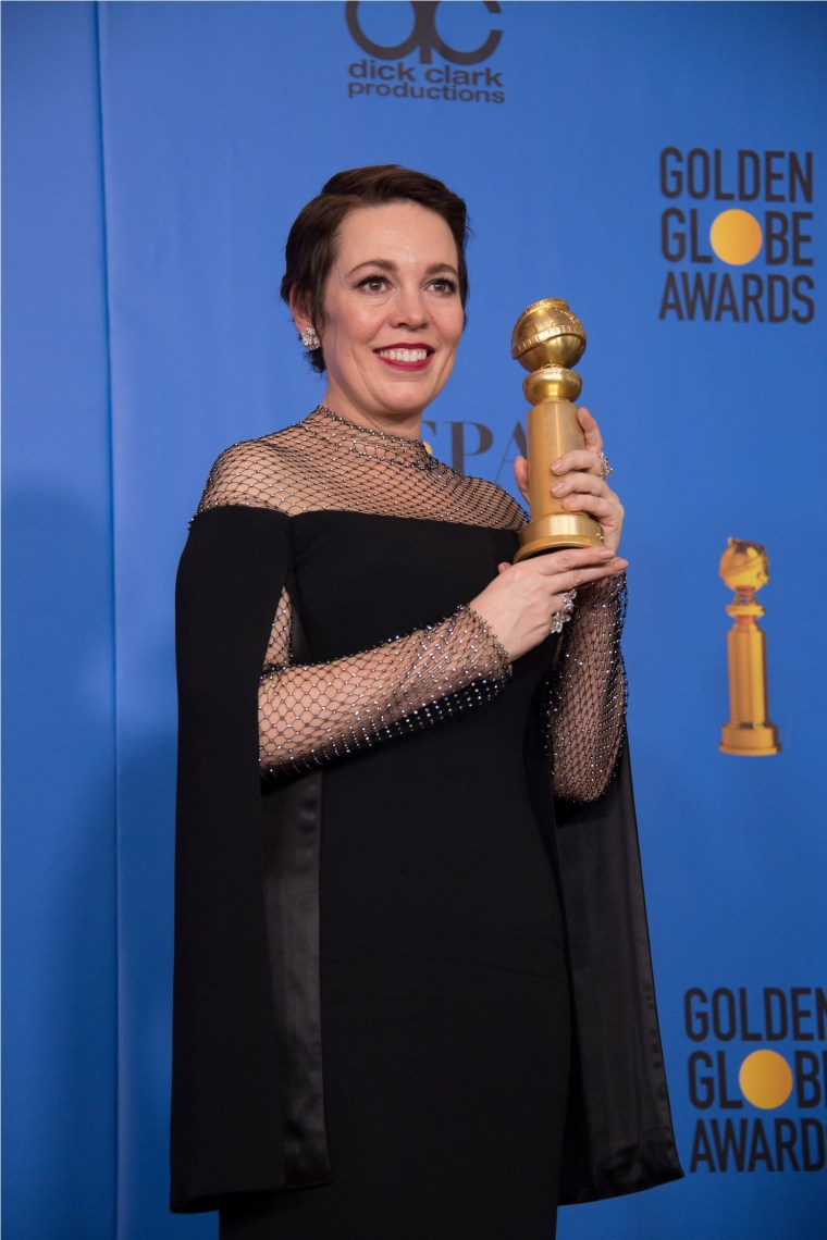 "After winning the category of BEST PERFORMANCE BY AN ACTRESS IN A MOTION PICTURE – COMEDY OR MUSICAL for her work in ""The Favourite,"" actress Olivia Colman poses backstage in the press room with her Golden Globe Award at the 76th Annual Golden Globe Awards at the Beverly Hilton in Beverly Hills, CA on Sunday, January 6, 2019."