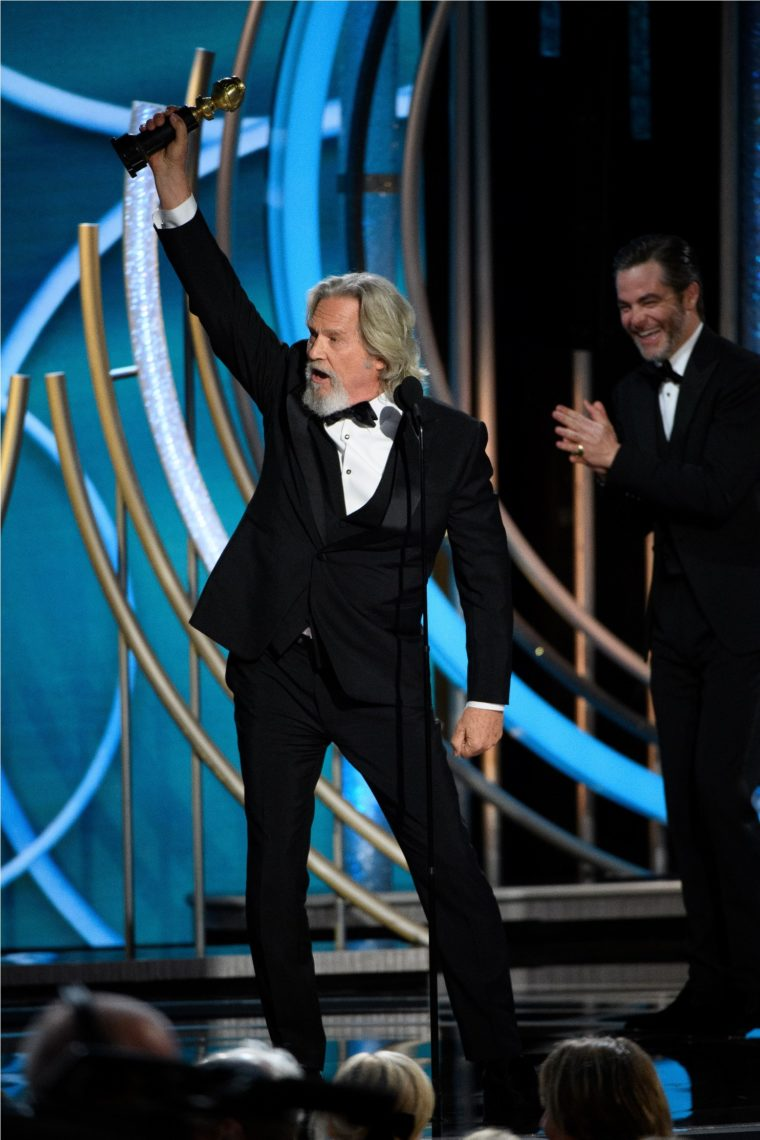 "Jeff Bridges accepts the Cecil B. DeMille Award for his ""outstanding contribution to the entertainment field"" at the 76th Annual Golden Globe Awards at the Beverly Hilton in Beverly Hills, CA on January 6, 2019."