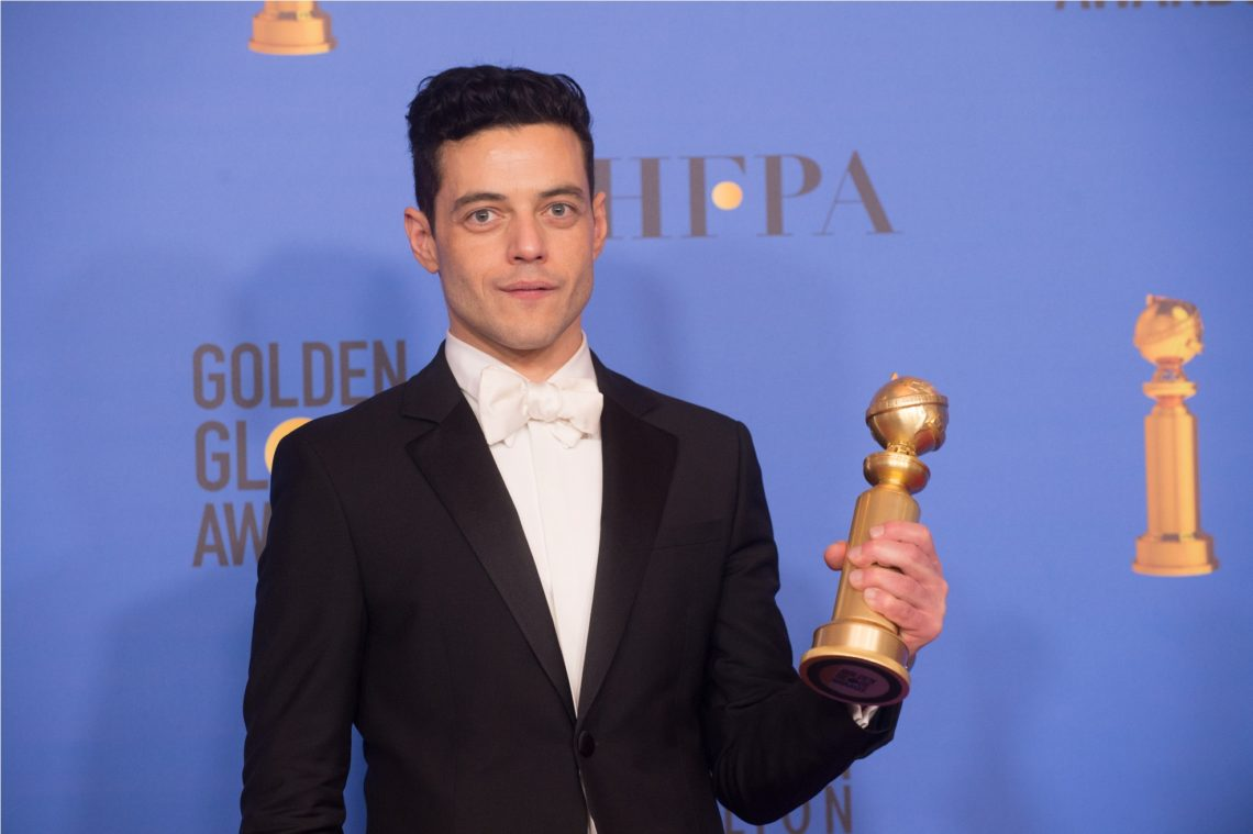 """After winning the category of BEST PERFORMANCE BY AN ACTOR IN A MOTION PICTURE – DRAMA for his role in """"Bohemian Rhapsody,"""" actor Rami Malek poses backstage in the press room with his Golden Globe Award at the 76th Annual Golden Globe Awards at the Beverly Hilton in Beverly Hills, CA on Sunday, January 6, 2019."""