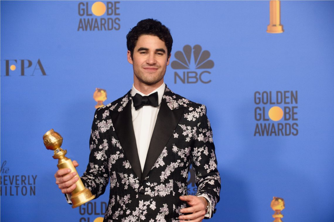 "After winning the category of BEST PERFORMANCE BY AN ACTOR IN A LIMITED SERIES OR A MOTION PICTURE MADE FOR TELEVISION for his role in ""The Assassination of Gianni Versace: American Crime Story,"" actor Darren Criss poses backstage in the press room with his Golden Globe Award at the 76th Annual Golden Globe Awards at the Beverly Hilton in Beverly Hills, CA on Sunday, January 6, 2019."