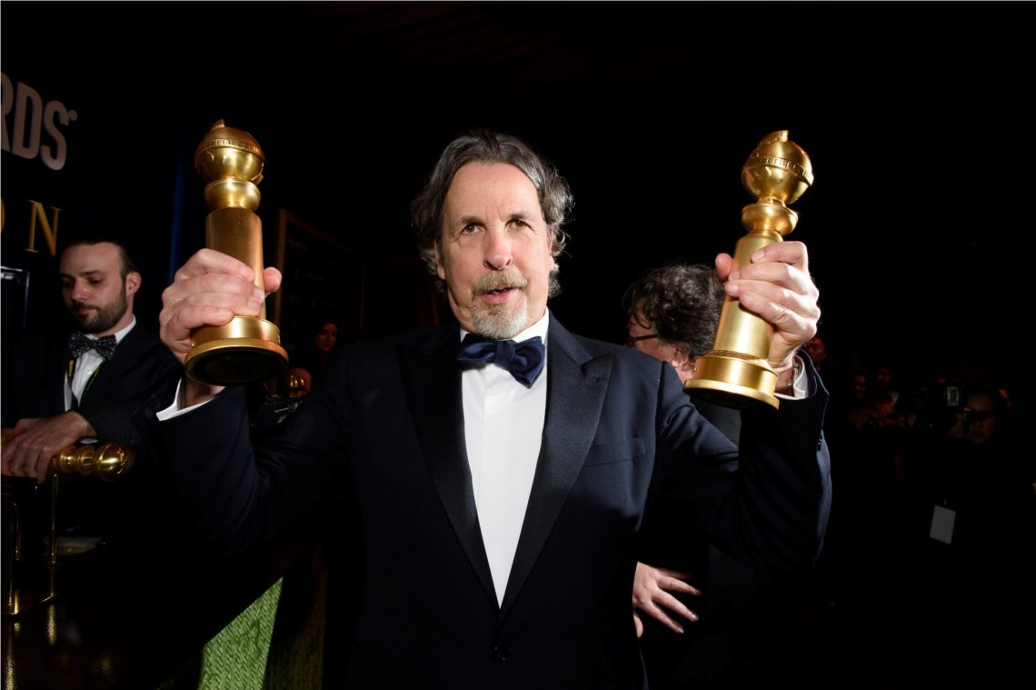 """After winning the Golden Globe for BEST MOTION PICTURE – COMEDY OR MUSICAL and for BEST SCREENPLAY – MOTION PICTURE both for """"Green Book"""", Peter Farrelly poses with his awards at the 76th Annual Golden Globe Awards at the Beverly Hilton in Beverly Hills, CA on Sunday, January 6, 2019."""