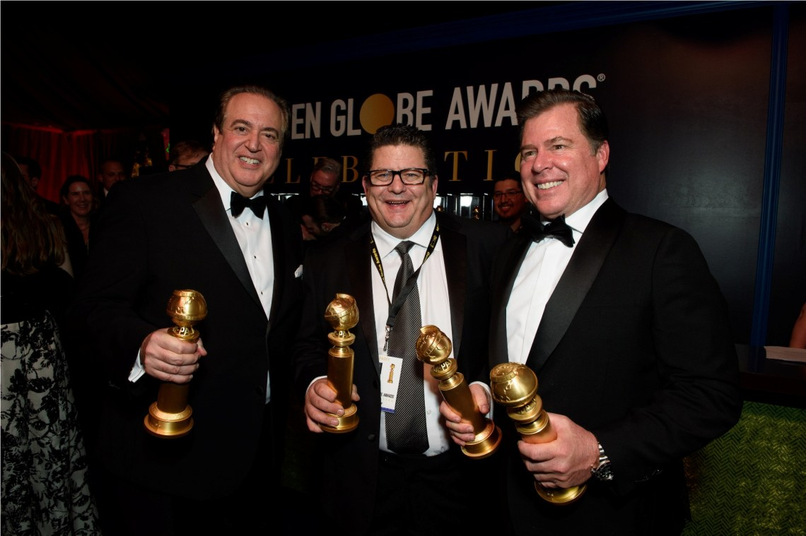 "After winning the category of BEST SCREENPLAY – MOTION PICTURE for ""Green Book,"" Nick Vallelonga, and and Brian Currie pose backstage with the Golden Globe Award at the 76th Annual Golden Globe Awards at the Beverly Hilton in Beverly Hills, CA on Sunday, January 6, 2019."