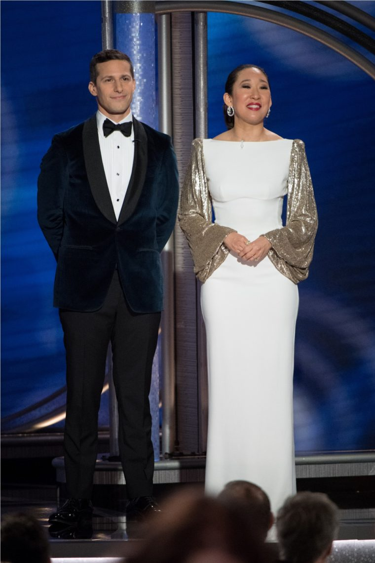Hosts Andy Samberg and Sandra Oh onstage during the 76th Annual Golden Globe Awards at the Beverly Hilton in Beverly Hills, CA on Sunday, January 6, 2019.