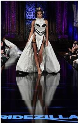 Model wearing designer Lashun Coster's second place winning dress