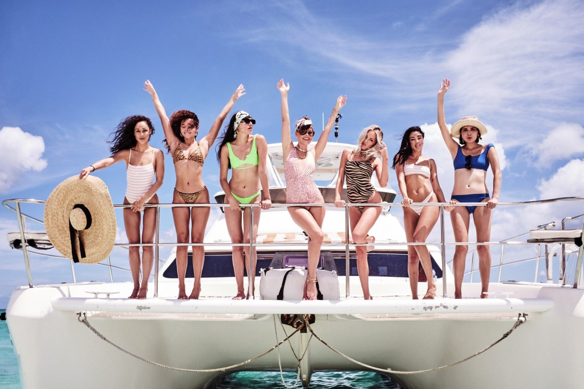 Shea Marie, Cara Santana, Natalie Suarez, Dylana Suarez, Jenny Cipoletti and Ashley Moore Celebrating VS Swim in Turks & Caicos