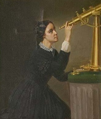 Maria Mitchell Looking Through a Telescope, painting by Herminia B. Dassel, circa 1851