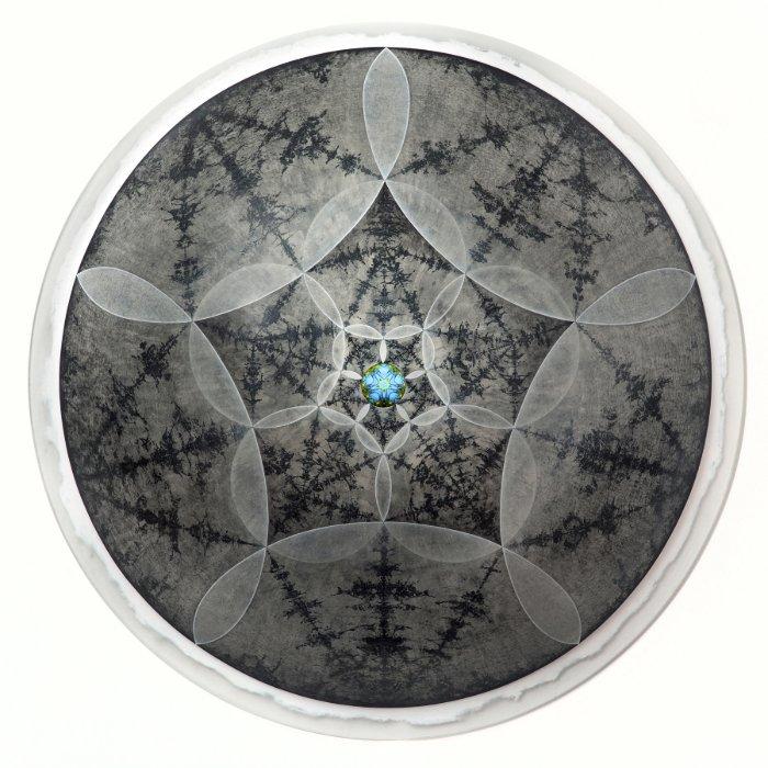 Carol Prusa, Quintessence, Silverpoint, graphite, acrylic on acrylic hemisphere