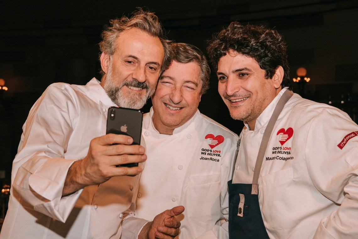 Massimo Bottura, Joan Roca, and Mauro Colagreco take a selfie at Once Upon a Kitchen 2018 in New York