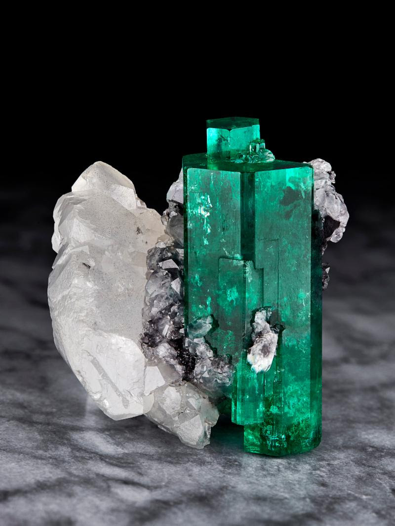 Emerald on Calcite, from the most famous of all emerald mines, Muzo Mines, Muzo, Boyaca, Colombia. (formerly in the James Horner collection, and currently in the collection of Mr. Irv Brown)