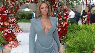 Beyoncé Eears Dress from IED Milan Newly Graduated Student at Pre-Grammy Brunch