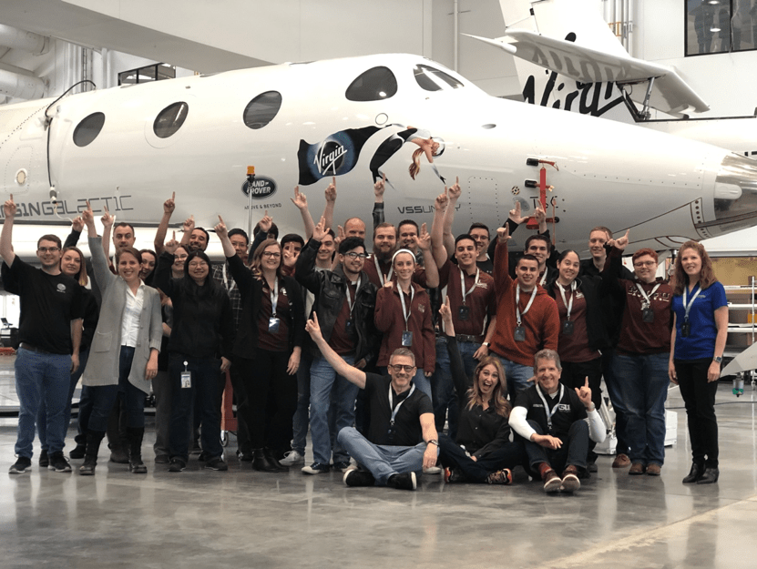 Students from New Mexico State University (NMSU), the local university to Virgin Galactic's commercial headquarters, visit Spaceport America for an educational tour and mentoring session delivered by the team at Virgin Galactic in February.