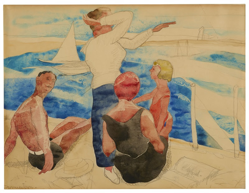 Bathers Viewing the Sea, by Demuth, Charles (1917). Watercolor and graphite on paper. The Dr. and Mrs. John J. Mayers Collection.