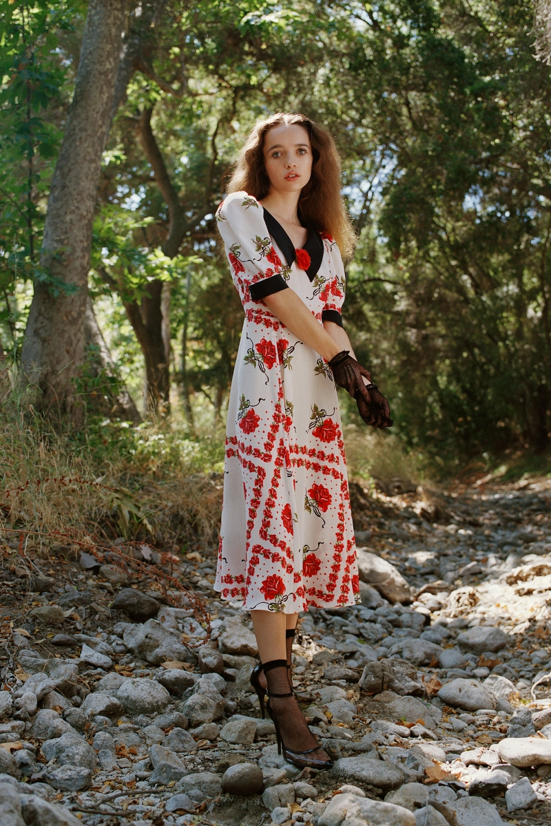 RED ROSE PRINTED SILK DRESS WITH COLLAR AND SILK ROSE DETAIL - LOOK 21