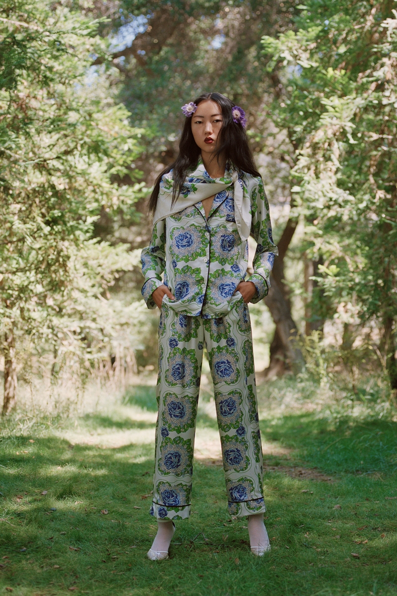 BLUE AND GREEN FLORAL PRINTED SILK TWILL PAJAMA TOP - LOOK 29