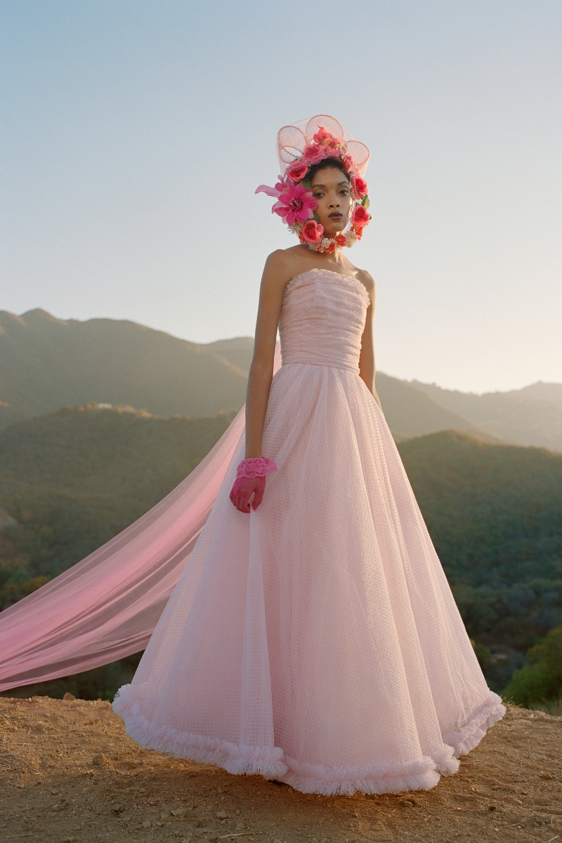 PINK FLOCKED DOTTED TULLE GOWN WITH RUCHED TRIM - LOOK 32