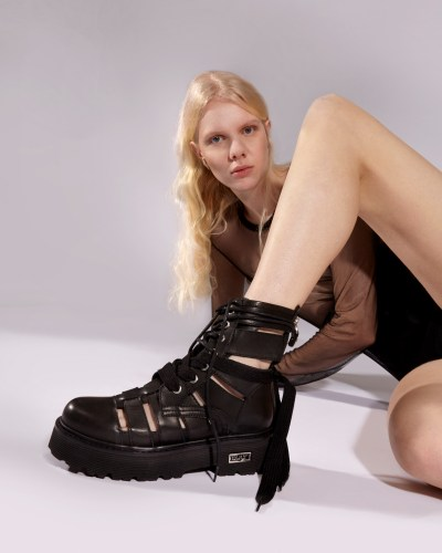All striped black ankle boots by Cult