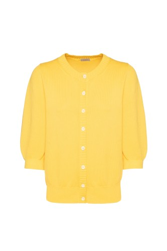 pure cotton cardigan from the Spring - Summer 2021 Collection, in the intense Pantone shade of Illuminating Yellow