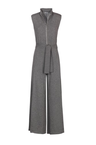 Ultimate Gray light cashmere jumpsuit with belt, from the timeless collection by Malo.
