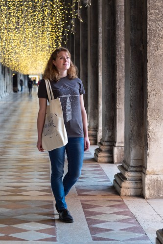 Girl wearing Campanile print on a black t-shirt