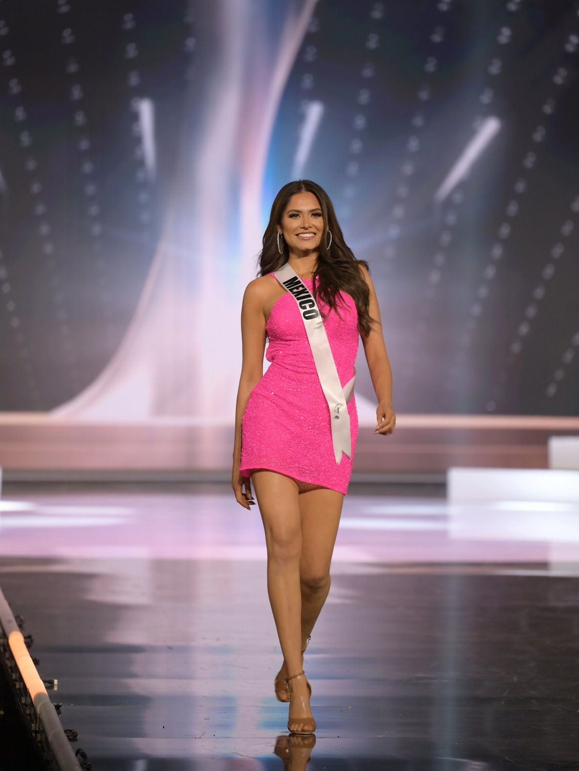 Andrea Meza, Miss Universe Mexico 2020 on stage in fashion by Sherri Hill during the opening of the MISS UNIVERSE® Preliminary Competition at the Seminole Hard Rock Hotel & Casino in Hollywood, Florida on May 14, 2021. Tune in to the live telecast on FYI and Telemundo on Sunday, May 16 at 8:00 PM ET to see who will become the next Miss Universe.