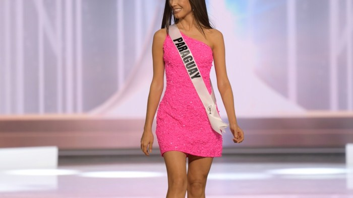 Vanessa Castro Guillén, Miss Universe Paraguay 2020 on stage in fashion by Sherri Hill during the opening of the MISS UNIVERSE® Preliminary Competition at the Seminole Hard Rock Hotel & Casino in Hollywood, Florida on May 14, 2021. Tune in to the live telecast on FYI and Telemundo on Sunday, May 16 at 8:00 PM ET to see who will become the next Miss Universe.