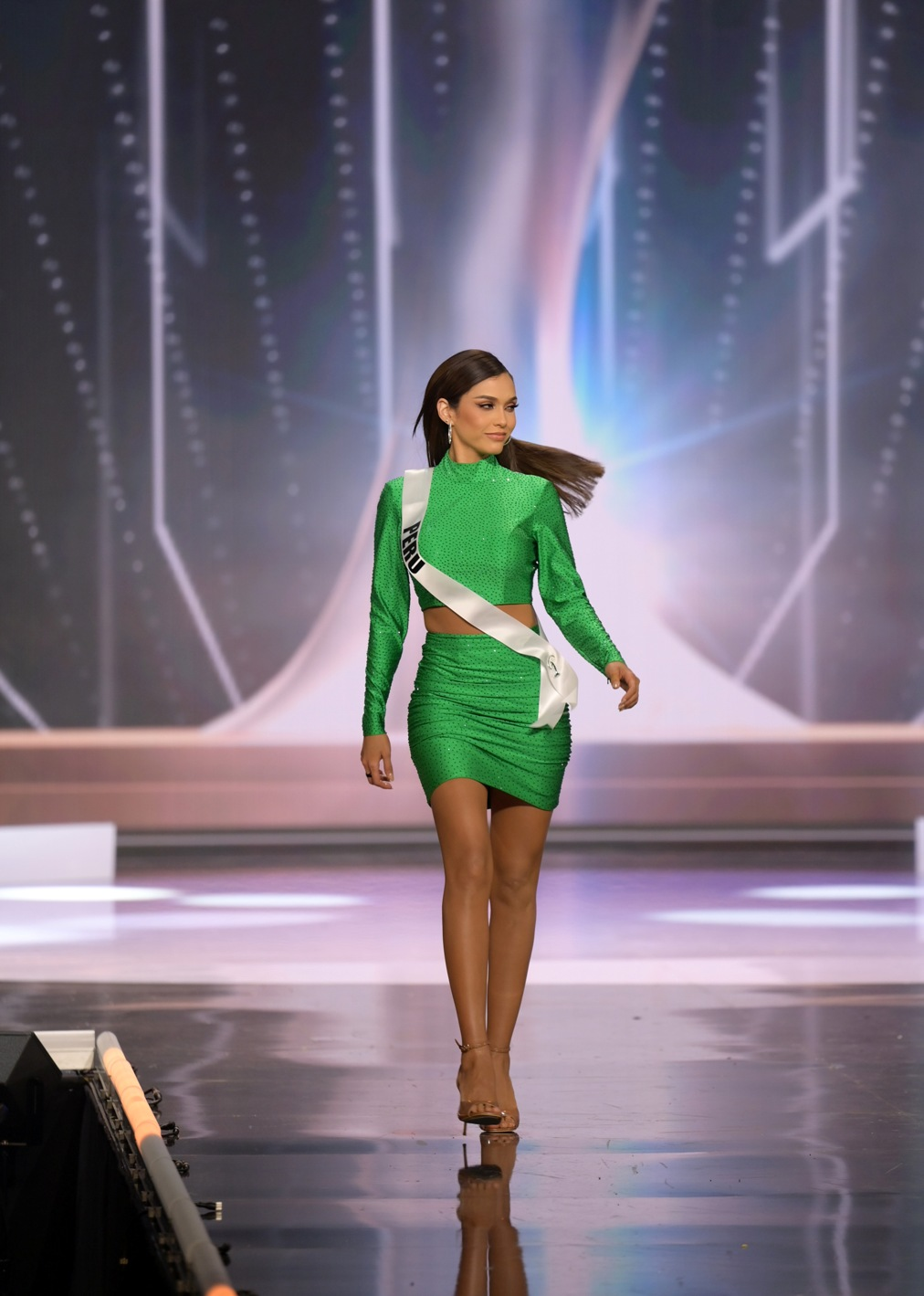 Janick Maceta Del Castillo, Miss Universe Peru 2020 on stage in fashion by Sherri Hill during the opening of the MISS UNIVERSE® Preliminary Competition at the Seminole Hard Rock Hotel & Casino in Hollywood, Florida on May 14, 2021. Tune in to the live telecast on FYI and Telemundo on Sunday, May 16 at 8:00 PM ET to see who will become the next Miss Universe.