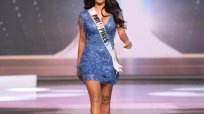 Rabiya Mateo, Miss Universe Philippines 2020 on stage in fashion by Sherri Hill during the opening of the MISS UNIVERSE® Preliminary Competition at the Seminole Hard Rock Hotel & Casino in Hollywood, Florida on May 14, 2021. Tune in to the live telecast on FYI and Telemundo on Sunday, May 16 at 8:00 PM ET to see who will become the next Miss Universe.