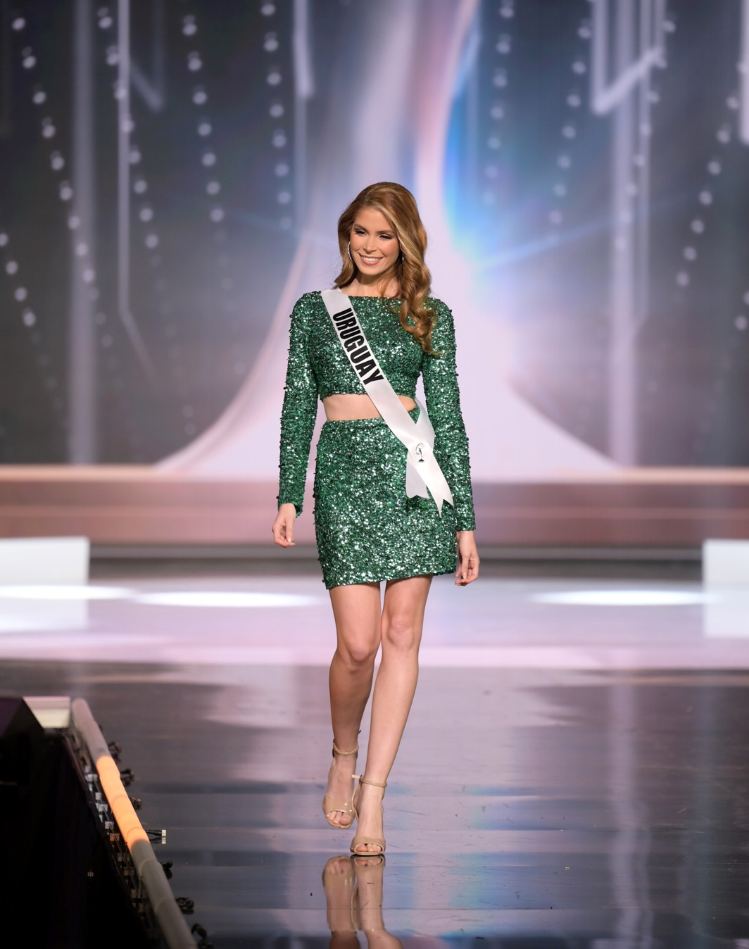 Lola De los Santos, Miss Universe Uruguay 2020 on stage in fashion by Sherri Hill during the opening of the MISS UNIVERSE® Preliminary Competition at the Seminole Hard Rock Hotel & Casino in Hollywood, Florida on May 14, 2021. Tune in to the live telecast on FYI and Telemundo on Sunday, May 16 at 8:00 PM ET to see who will become the next Miss Universe.