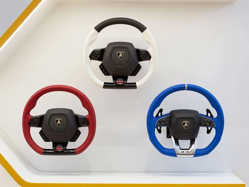 Lamborghini Lounge NYC - Ad Personam Room (steering wheel)