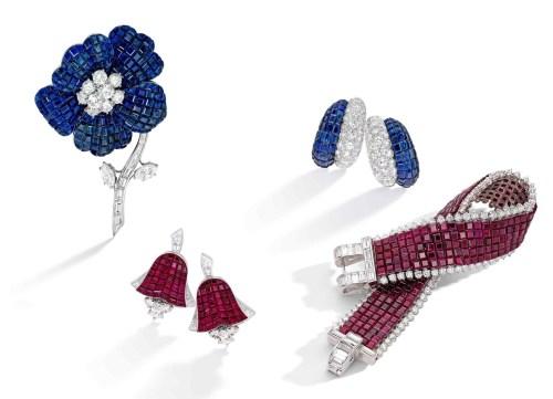 Mystery-Set Sapphire and Diamond Flower Brooch