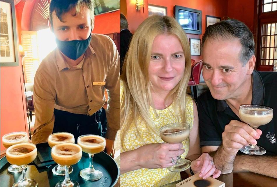 @SunnyOnTheScene andDavid Gordontoasting dessert finale of adult-rated Chai Rum lattés